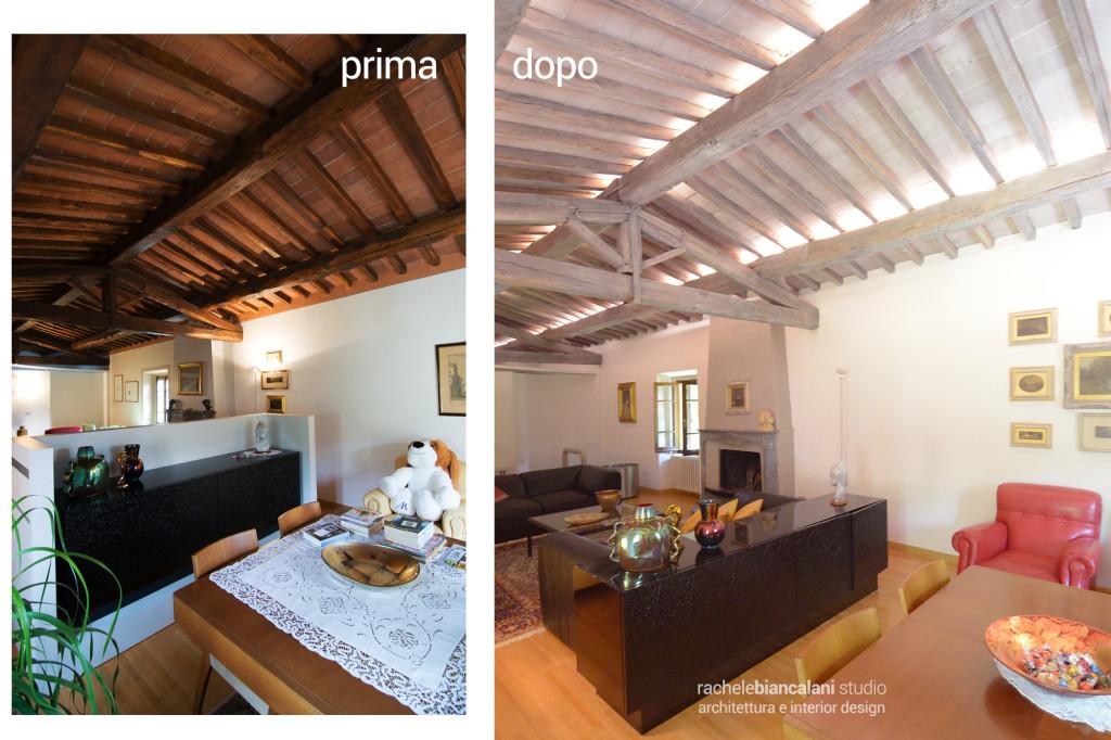 Prima e dopo di un soffitto con travi a vista prima scure e poi sbiancate